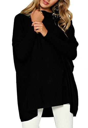 CoCo Fashion Damen Lose Bluse Fledermaus Langarm Pullover Normallacks Shirt Casual Oberteil Übergröße, Schwarz, Gr. XL (Lose Hosen Damen)