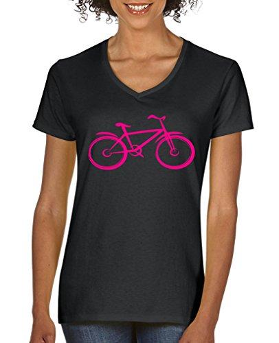 Damen V-Neck 100/% Baumwolle V-Ausschnitt Fahrrad Comedy Shirts Kurzarm Top Basic Print-Shirt