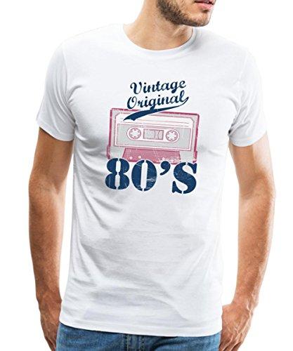 Spreadshirt Années 80 Cassette Audio Vintage T-Shirt Premium Homme, M, Blanc