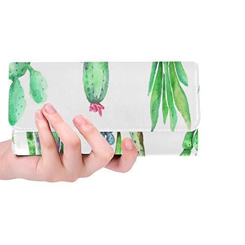 Einzigartige Kaktus-Zimmerpflanze lokalisiert auf weißer Frauen-dreifachgefalteter Geldbörsen-Langer Geldbeutel-Kreditkarteninhaber-Fall-Handtasche