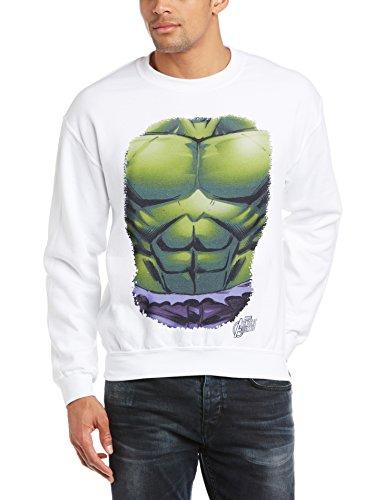 Marvel Herren Sweatshirt Avengers Assemble Hulk Chest Burst Weiß - Weiß