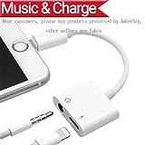 Lightning zu 3.5mm Audio Adapter + Ladegerät Adapter für iPhone 7 / 7Plus iPhone 8 / 8Plus iPhone X zu 3.5mm Headset Kopfhörer.2 in1 Lightnig Jack zu 3.5mm Kopfhörer Adapter für iPhone 7.Headphone Audio Splitter und Ladeadapter (Support Audio + Laden + Kompatibel iOS 10.33 / 11.2 oder später) -Weiß