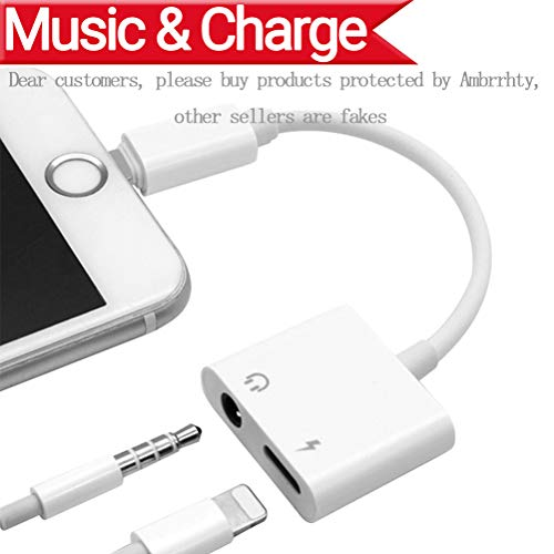 Preisvergleich Produktbild Lightning zu 3.5mm Audio Adapter + Ladegerät Adapter für iPhone 7 / 7Plus iPhone 8 / 8Plus iPhone X zu 3.5mm Headset Kopfhörer.2 in1 Lightnig Jack zu 3.5mm Kopfhörer Adapter für iPhone 7.Headphone Audio Splitter und Ladeadapter (Support Audio + Laden + Kompatibel iOS 10.33 / 11.2 oder später) -Weiß