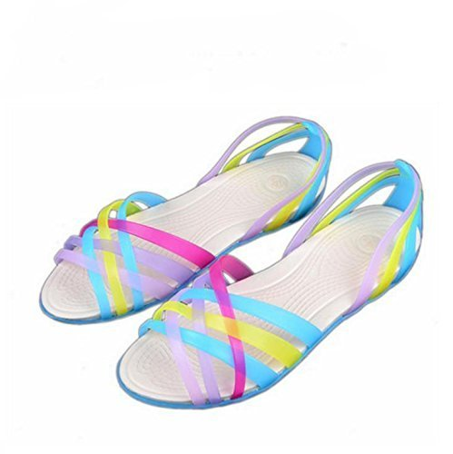 Minetom Donne Scarpe Gelatina Estate Spiaggia Sandali Piatto Tacco Pantofole Sandali Gladiatore Blu
