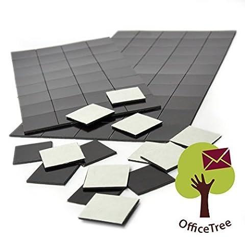 OfficeTree ® 2 x 50 Magnet-Plättchen - 20 x 20 mm - selbstklebend für sichere Magnetisierung von Plakaten Fotos Papier - extra starke Haftkraft an Whiteboard Magnet-Tafel Pinnwand - schwarz