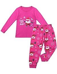 iixpin Pijama Unisex Navidad Pelele Estampado Santa Claus Patrón Ropa de Dormir Dos Piezas Camiseta Manga Largo Pantalones Largo Otoño