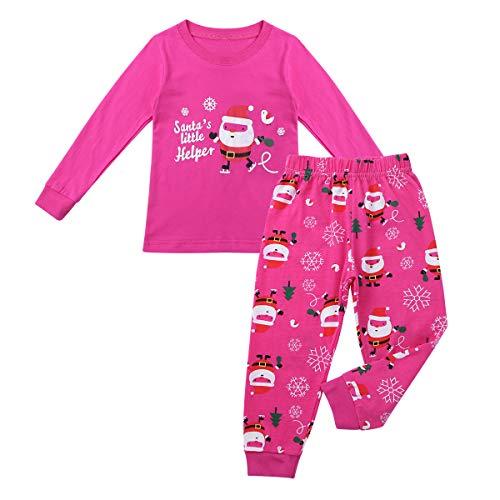 Agoky Unisex Kinder Weinachten Kostüm Cartoon Schlafanzug Santa Motiv Tops mit Hose lang Nachtwäsche Pajama Set Sleepwear Bekleidungsset Rose Rot 4-5 Jahre(Etikette ()