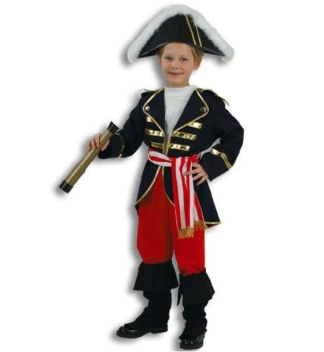 Lord Nelson Admiral Offizier Seefahrer 2tlg m Gürtel u Stulpen Kinder Kostüm Gr 152