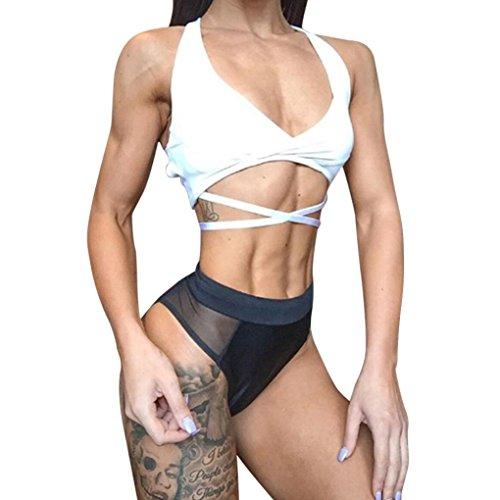 UFACE Damen Frauen Nähen Kontrast Farbe Yoga Leggings Leggings Sport Shorts Fitness Workout Bund...