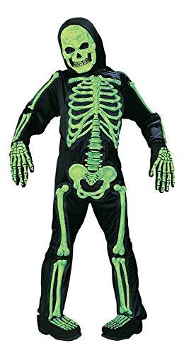 Skelebones Child Skeleton Green Medium Fancy Dress