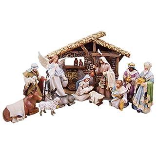 Christian Brands Belén Noches Navidad Belén Escena Figuritas con Creche, 12 Piezas Set