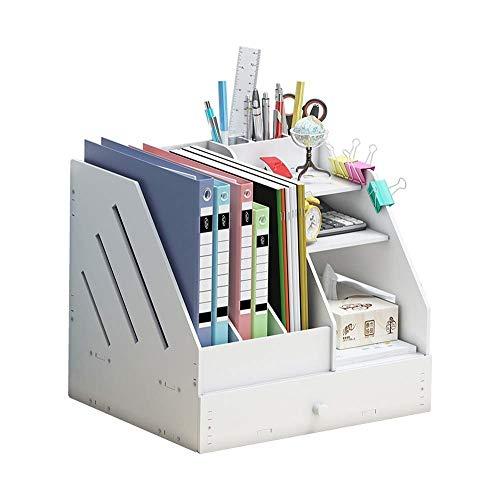 Hqqgwt Multifunktionales Bücherregal, umweltfreundliches Holz-Kunststoff-Material, Verschiedene Stifthalter Design, unsichtbares Kartondesign, schöne und praktische Organizer-Halter