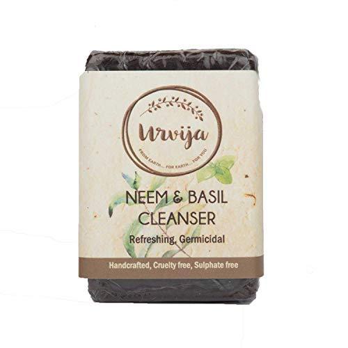 Urvija Neem & Basil Cleanser - Essential oil based Handmade soap - No Sulphates, Anti acne, Anti rash, Improves skin texture, For all skin type