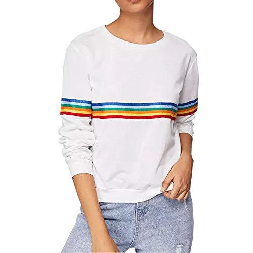 ADESHOP Sweatshirt Pullover für Teenager, Mädchen, langärmlig, Regenbogen-Patchwork-O-Kragen, Sweatshirt Gr. S, weiß (Aeropostale Hoodies Frauen)