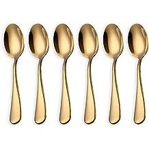 HOMQUEN Cucharas de café dorado brillante, cucharadas de café de acero inoxidable de 6 piezas