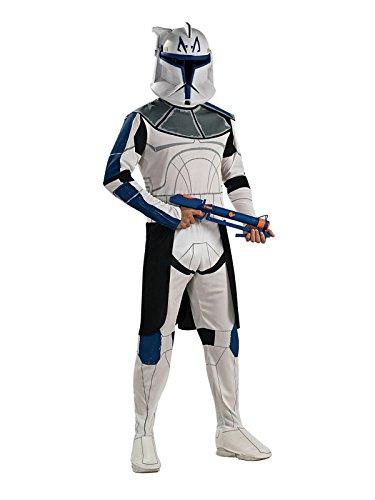 Star Wars Clonetrooper Captain Rex Kinder Kostüm Lizenzware weiss blau schwarz S (Captain Kinder Kostüm Rex)