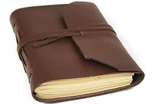 Indra Mini Brown Handmade Leather Wrap Journal, Plain Pages (13cm x 9cm x 2cm)