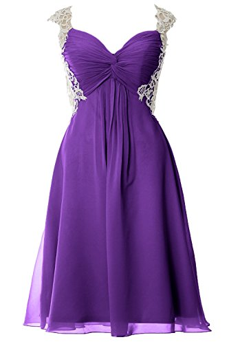 MACloth Women Lace Straps Chiffon Short Prom Dress Formal Party Evening Gown purple