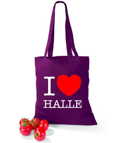 Artdiktat Baumwolltasche I love Halle Burgundy