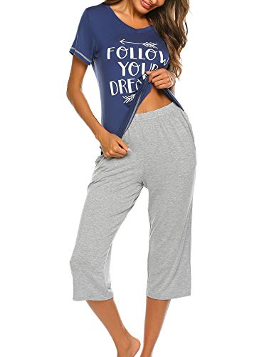 Damen Einfarbige Pyjama Set, Zweiteiliger Modal Langarm Schlafanzug (Damen Modal Pyjama-sets)