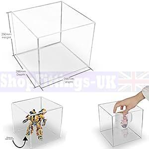 Espositore a cubo in plexiglas, per vetrine e negozi, supporto quadrato a 5 lati acrilico, espositore a vassoio 200x200x200mm Acrylic Cube