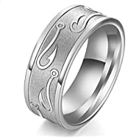 Unisex titanium ring decorated with a silvery hook hook