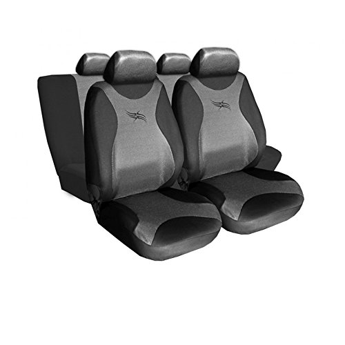 GSC Sitzbezüge Komplettset Autositzbezug Universal Dunkelgrau, Turbo, kompatibel mit Suzuki Swift Suzuki Swift Turbo