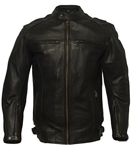 Herren Lederjacke, Motorrad Lederjacke, Bikerjacke, Rind Leder, (XL) - 2