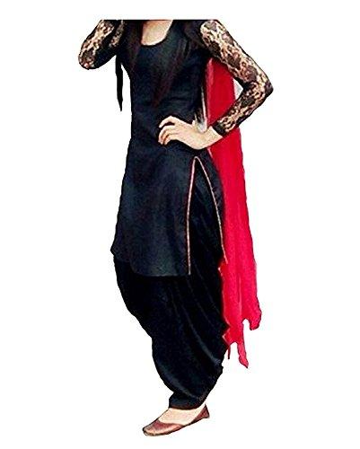 Izonme Women\'S Cotton Salwar Suit Set (IZNM1603_Black_Free Size)