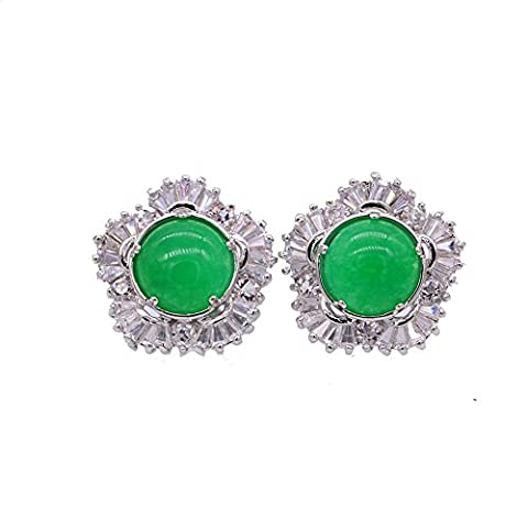 LOVE STUDIO,Malay jade Boucles d'oreilles Classic Studs Boucles d'oreilles Green Zircon Femmes Bijoux Ear Stud Earrings Engagement Earring 1 Pair (18K White Gold Plated)