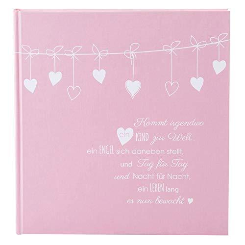 Goldbuch Babyalbum, Poetry Pink, 30 x 31 cm, 60 weiße Blankoseiten, 4 illustrierte Seiten, Pergamin-Trennblätter, Leinenstruktur, Rosa, 15132