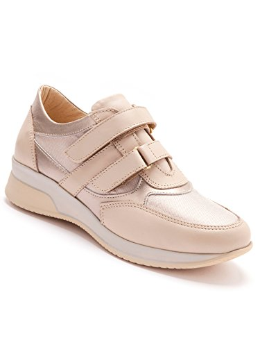 Pediconfort - Baskets cuir compensées à scratch - femme - Taille : 37 - Couleur : Beige