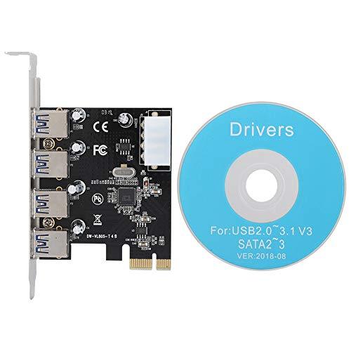 ASHATA 4-Port USB 3.0 Karte PCIe Express Controllerkarte, PCI-E Multi-I/O Steuerkarte zu USB3.0 Schnittstellenkarte Erweiterungskarte für Windows 98/2000/XP/Vista/Linux usw.