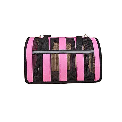 Dall Tragetaschen—— FS-805 Atmungsaktive Mesh- Katzen und Hunde Haustier-Paket Haustier Träger Reisetaschen Einfach und Langlebig Tragbare Faltung (Farbe : Pink)