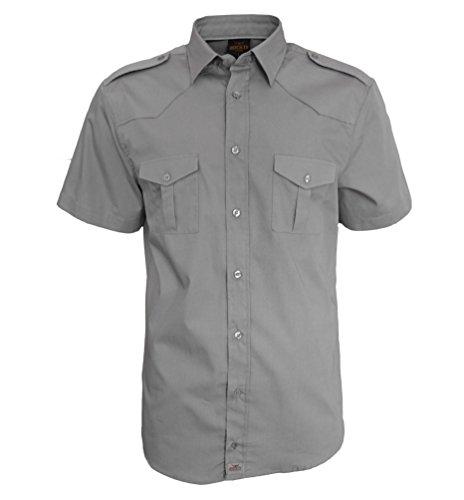 Tempo libero us camicia worker manica corta camicia worker shirt da rock-it degli uomini della camicia - taglie s-4xl - colore grigio xx-large