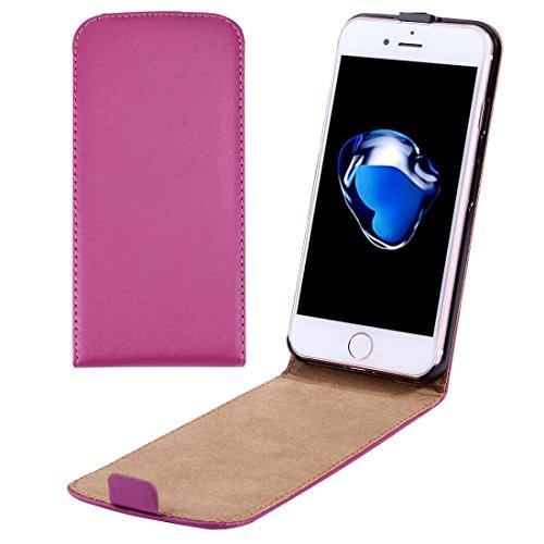 Casse del telefono mobile & Cover, Per il caso di cuoio di iPhone 7 Plus verticale flip Genuine Split ( Colore : Magenta )