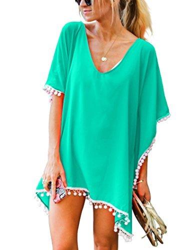 Damen Strandponcho Sommer Überwurf Kaftan Strandkleid Bikini Cover Up Freie Größe Hellgrün