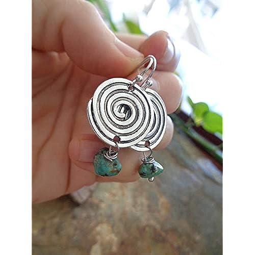 ❁ WAVE SPIRAL & AFRICAN JASPIS - ORECCHINI ETNO ❁ orecchini a gancio piccoli con pietre verdi opache