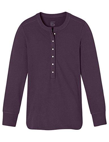 Schiesser Mix&Relax Shirt 1/1 Arm, Haut de Pyjama Femme Rouge - Rot (aubergine 511)
