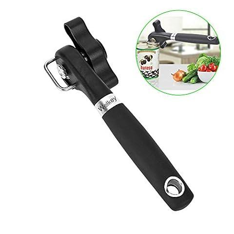 welkey Ouvre-boîte, côté design antidérapant ergonomique en acier inoxydable avec bord lisse Coupe sans Sharp coupe