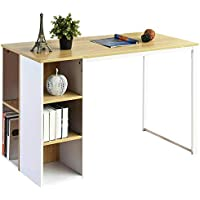 Computer Desk Office Writing Desk with 5 Side Shelves Large Study Table Modern Laptop Notebook Desk with Storage Wood Workstation Home Collection PC Organizers Metal Legs -Oak/White