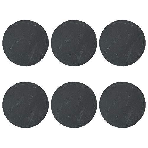Argon Tableware Runde Schieferplatten - Untersetzer-Set - 6 Stück