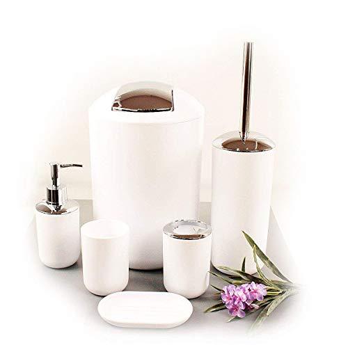Set de 6accesorios para el cuarto de baño GMMH, para cepillos de dientes, para el inodoro, para el jabón