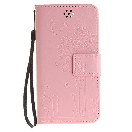 WYSTORE Premium Folio Cuir [Pissenlit Violet Motif] Embossing Portefeuille avec Cordon Lanyard Retro Housse pour Apple iPhone 7,Support Flip PU Leather Wallet Case (rose) rose