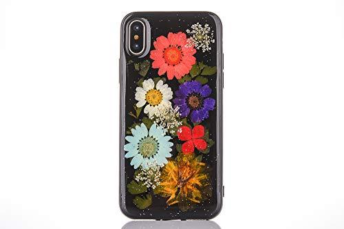 "Schwarz Phone Hülle iPhone XS Max 6.5"" YKTO Elegant Protective Soft Flex Silikon Dünn Schutzhülle Echte Blume Floral Series Mode Design Handyhülle Getrocknete Blumen"