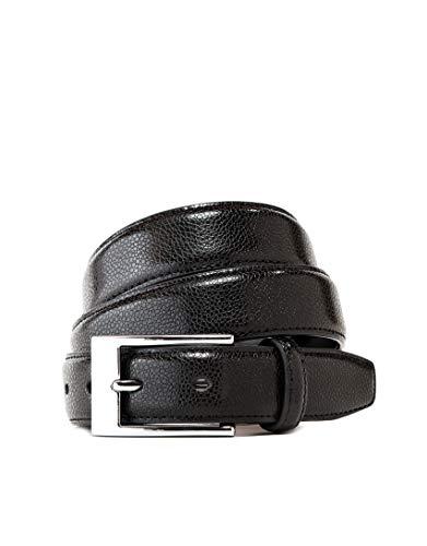 Vincenzo Boretti Cinturón hombre de piel con hebilla plateada, superficie de piel de serpiente negro 115 cm