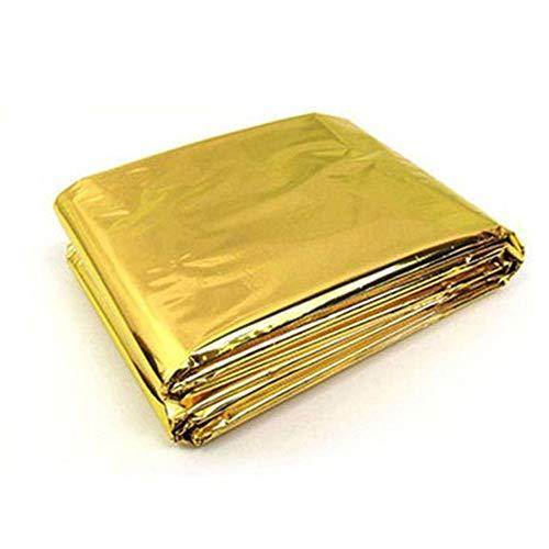 Renaisi Wasserdicht Emergency Insulation Blanket Größe 210 * 130CM Glänzend Behalten Sie Körperwärme Für Sport Im Freien Bei Tragbar (Color : Gold1)
