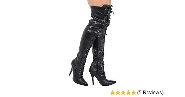 020034e4e157 (BS11720) - New Womens Ladies Sexy Thigh HIGH Kinky Fetish Over The Knee  Stiletto Heel Full Side Zip Boots Big Sizes UK 4 - UK 12 (4 UK   EU37