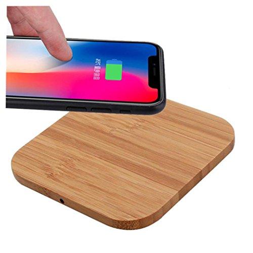 Para Iphone 8, Iphone 8 Plus, Iphone X - Sannysis cargador inalámbrico de carga rápido portable Qi wireless power cargador iphone Inalámbrico qi coche quick charge, Diseño de madera cuadrada