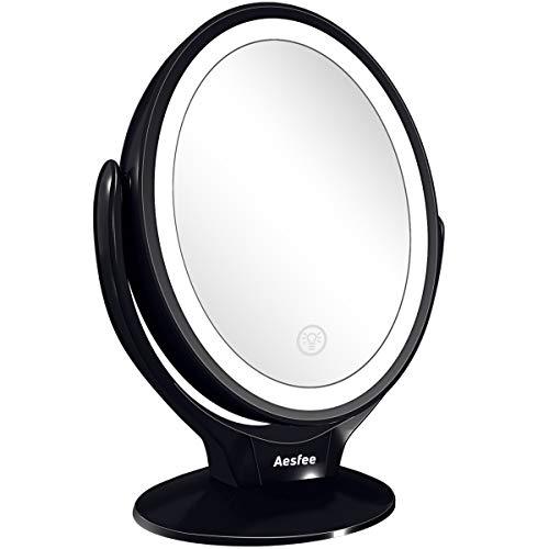 Specchio da Trucco Doppia Faccia con Luci a LED,Ingrandimento 1x/7x Specchio Trucco con Rotazione a 360°,Luminosità regolabile tramite touch screen,Specchio Illuminante Portatile per Viaggio,Bagno